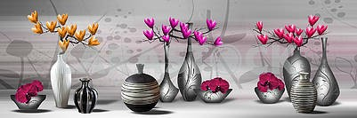 3d illustration, gray background, branches with colorful flowers in vases