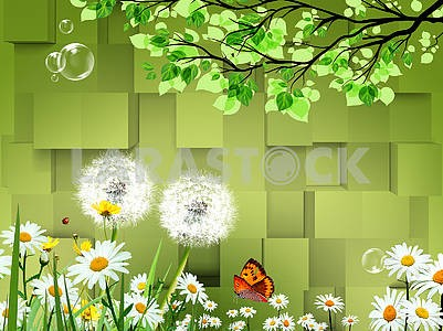 3d illustration, green background, white daisies and dandelions, soap bubbles, large butterfly, tree branches with green leaves