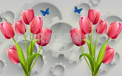 3d illustration, gray background, gears, scarlet tulips with drops of dew, blue butterflies