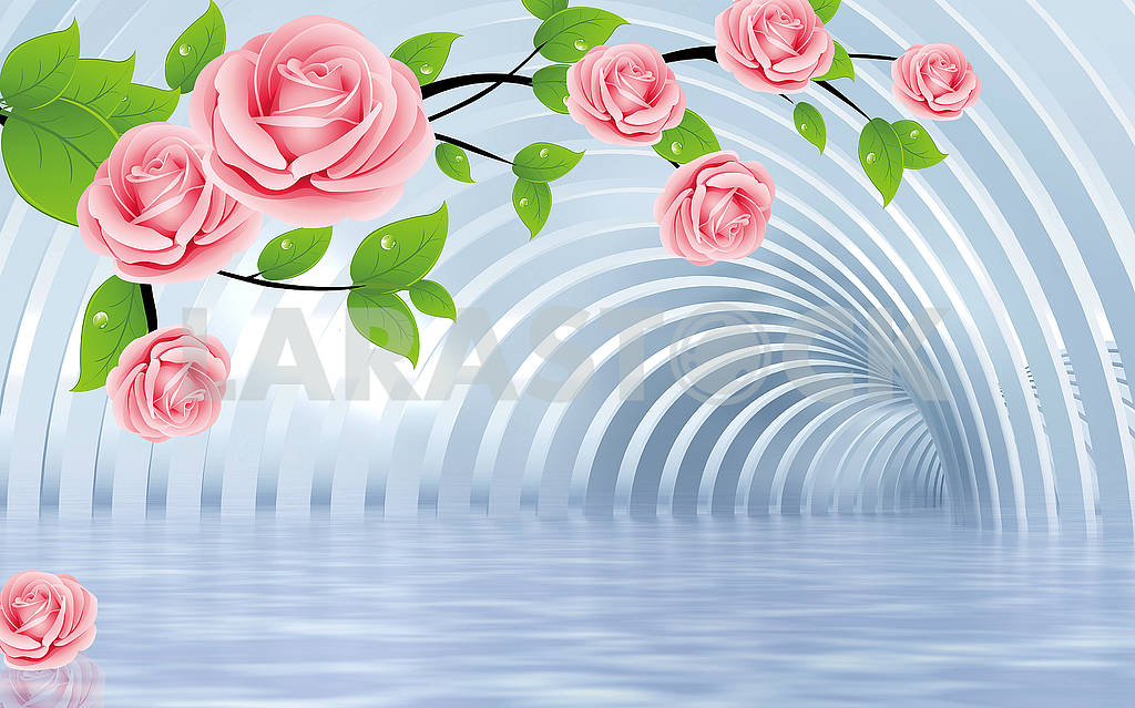 3d illustration, light background, tunnel, large pink roses, green leaves with drops of dew — Image 81852