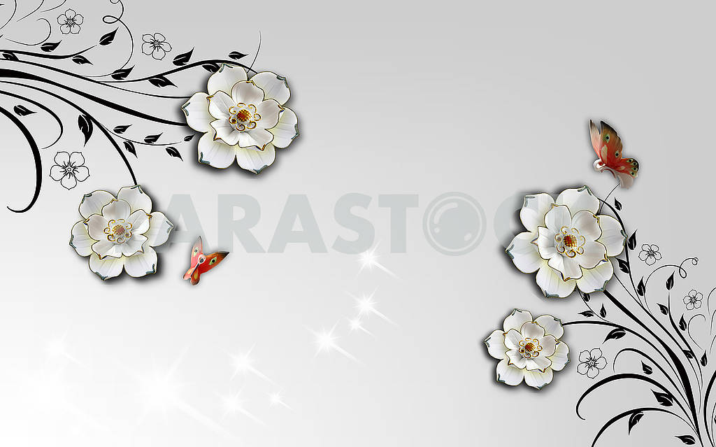 3d illustration, light gray background, large white gilded flowers, two butterflies — Image 81862