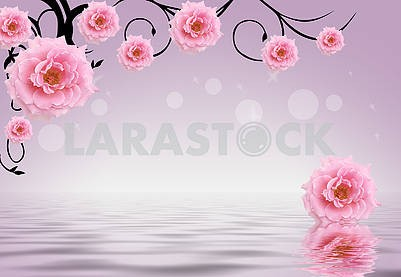 3d illustration, light background, gradient, buds of pink flowers, reflection in water