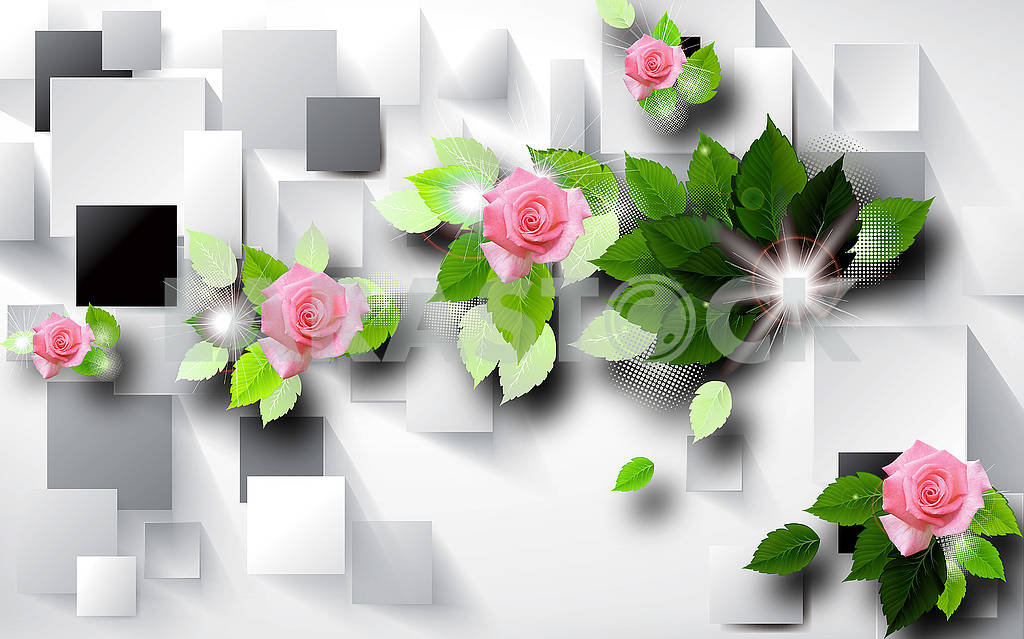 3d illustration, gray background, rectangles, green leaves and pink roses, flashes of light — Image 81902