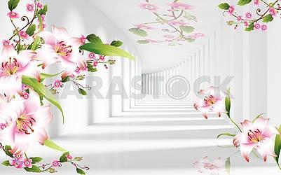 3д иллюстрация, светлый фон, туннель, свет и тень, розовые и белые лилии