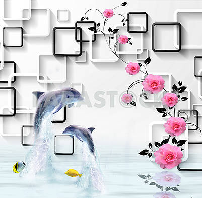 3d illustration, white background, white and black rectangular frames, pink roses on a black branch, two dolphins, two yellow fish, reflected in the water