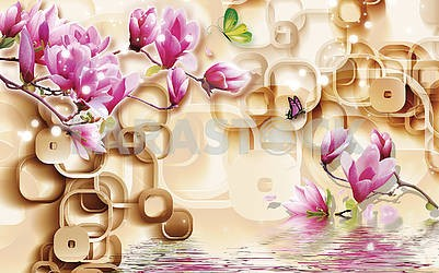 3d illustration, light background, brown frames, pink lilies, butterflies, reflection in water