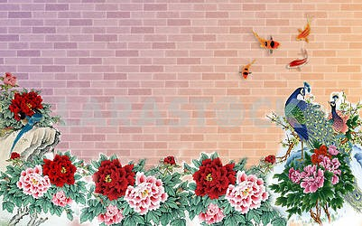 Brick wall, fabulous flowers, goldfish, birds, peacocks
