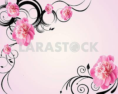 3d illustration, light pink background, large pink peonies buds