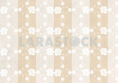Beige vintage striped background, white ornamental flowers
