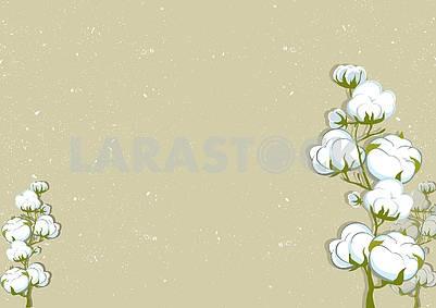3d illustration, dark background, plants, white cotton