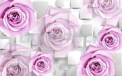3d illustration, light background, rectangles, large light purple rosebuds