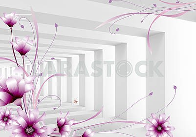 3d illustration, light background, square columns, purple fabulous flowers