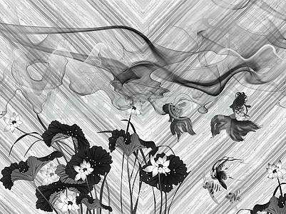 Monochrome illustration, waves, fabulous flowers and fish