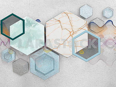 3d illustration, light background, waves, hexagons, marble