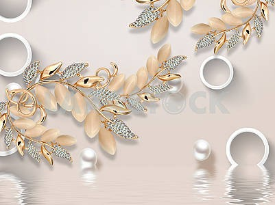 3D illustration, light background, white rings, a fabulous plant with beige, gold and diamond leaves, pearls, reflection in water
