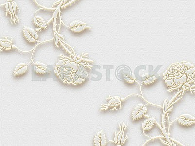 3d illustration, gray textural background, white embossed fabulous flowers