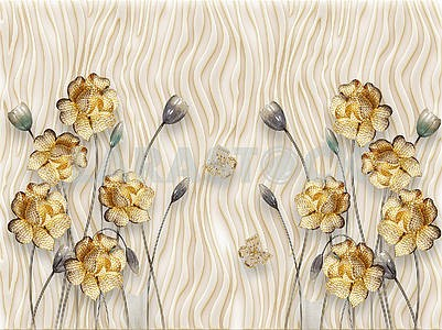 3d illustration, stamping, waves, beige background, gold and gray flowers