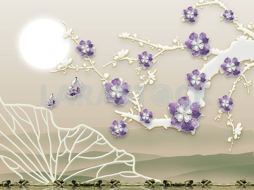 Abstract background, embossed, lilac flowers on the branch, full moon — Image 82122