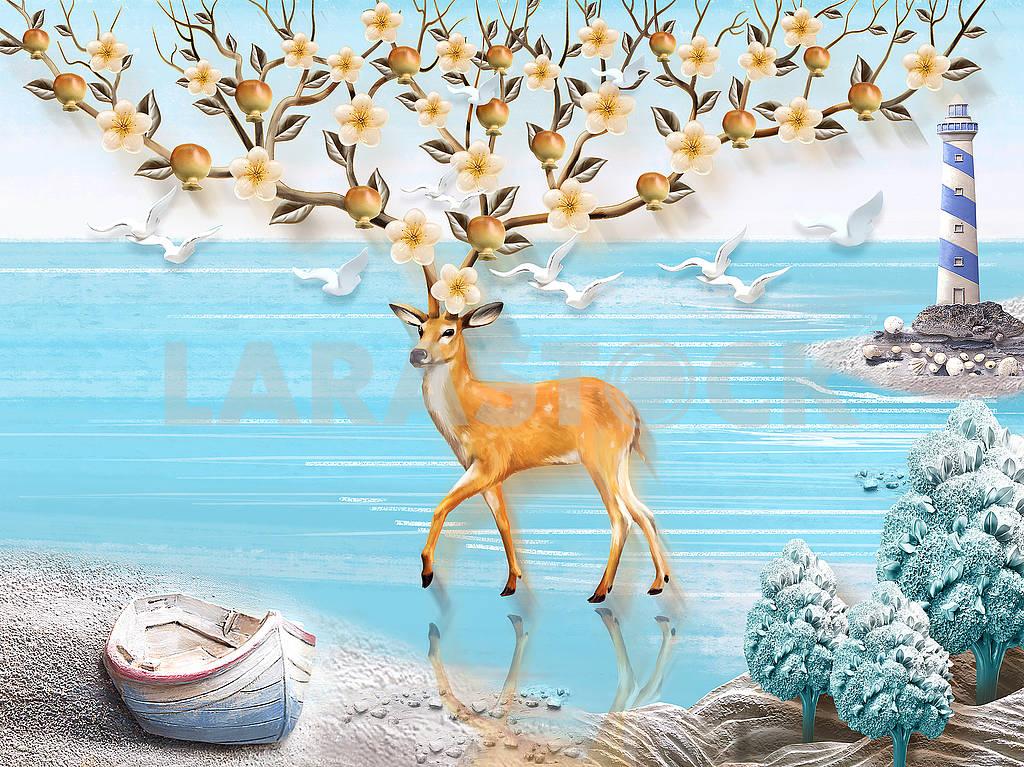 Пейзажная иллюстрация, море, маяк, лодка на берегу, олень с большими цветущими и плодоносящими рогами, чайки — Изображение 82124