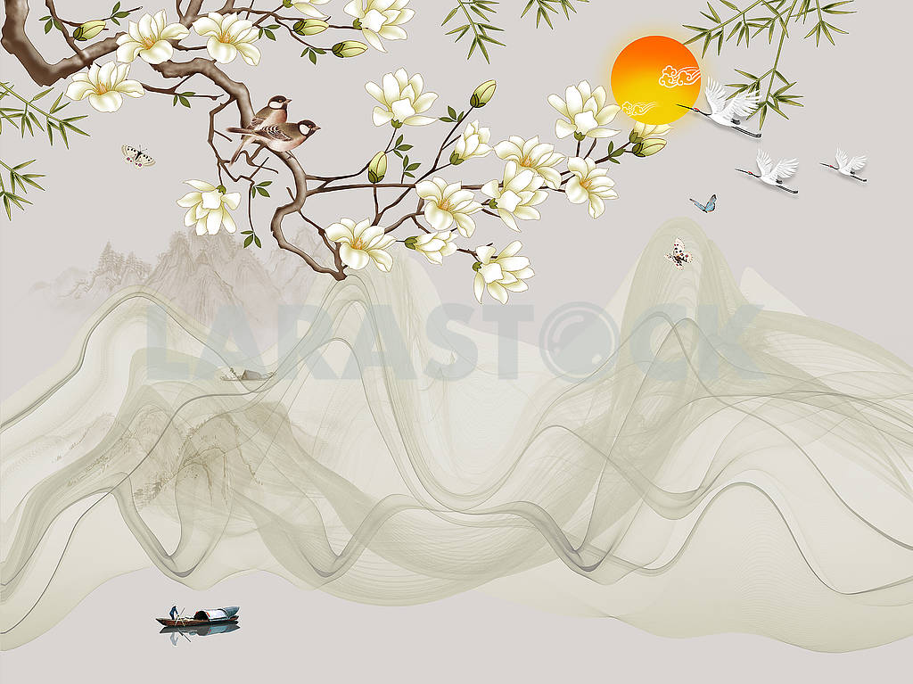 Landscape illustration, lake, fisherman on a boat, sunset, hills, flowering tree branch, gray waves, birds and butterflies — Image 82126