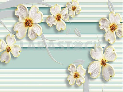3d illustration, light green background, white horizontal stripes, large white flower buds with yellow edging