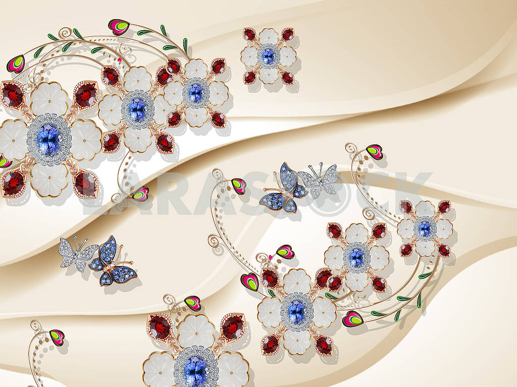 3d illustration, beige background, ornamental flowers with blue and red crystals, butterflies with wings covered small crystals — Image 82136