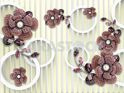3d illustration, light background, vertical stripes, white rings, large flowers of garnet color crystals