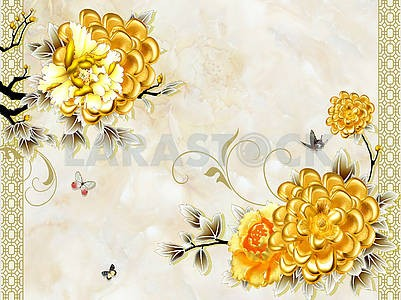 3d illustration, marble background, large golden fabulous flowers on black branches, flying butterflies
