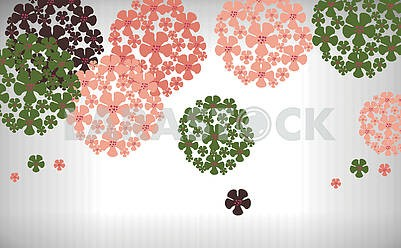 Gray background, multicolored painted flowers in the shape of a circle
