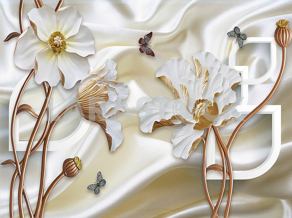 3d illustration, white silk background, large white flowers on brown stems, colorful butterflies — Image 82150