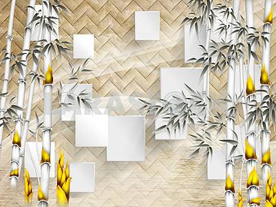 3д иллюстрация, бежевый фон с угловой текстурой, белые прямоугольники, монохромный бамбук с ярко-желтыми цветами