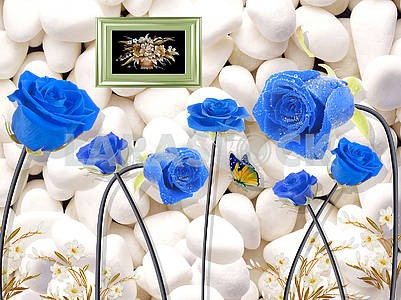 3d illustration, light background, white stones, large blue roses with water drops on gray stems, still life painting