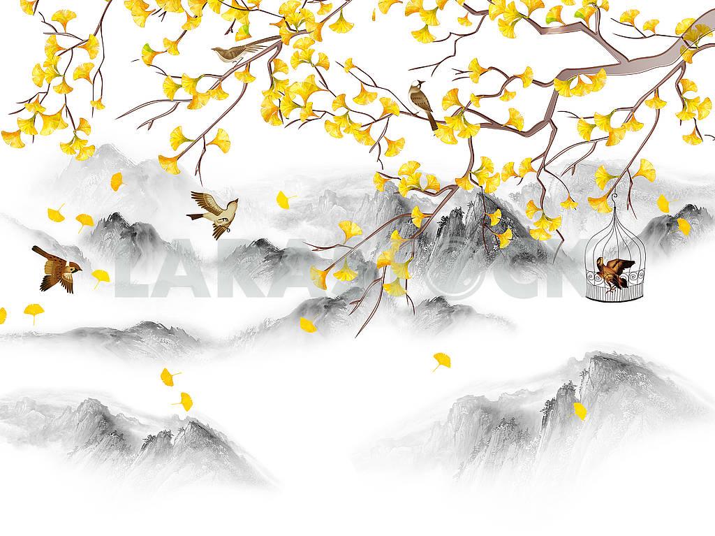 Пейзажная иллюстрация, холмы, лес в тумане, ветка с желтыми листьями, коричневые птицы, одна птица в клетке — Изображение 82193