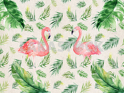 Abstract illustration, beige textured background, green drawn feathers of different sizes, two pink flamingos