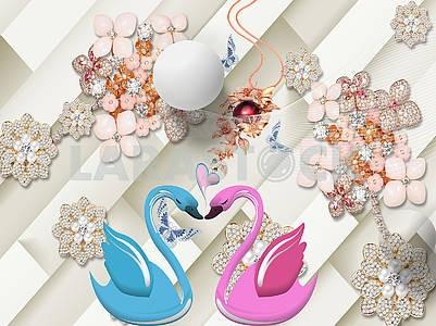 3д иллюстрация, бежевый фон, косые линии, розовые, жемчужные и оранжевые цветы, красный шар, большой белый шар, розовые и голубые лебеди