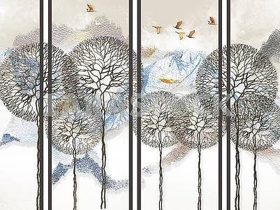 Абстрактный светлый фон, серые вертикальные линии, заснеженные горы, сказочные деревья и летающие птицы