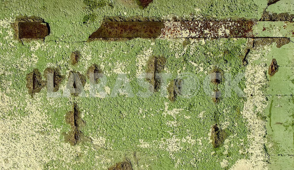 Background of an old concrete wall with rusty metal elements — Image 82225