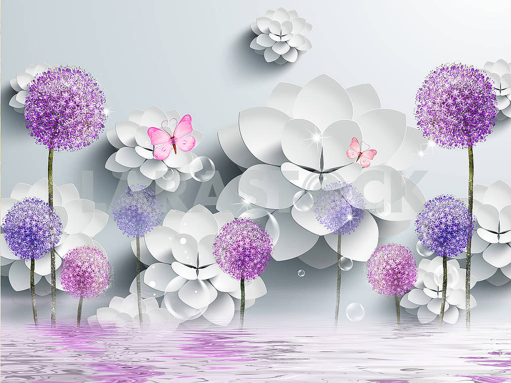 3d illustration, gray background, white paper flowers, colored dandelions, two pink butterflies, reflection in water — Image 82350