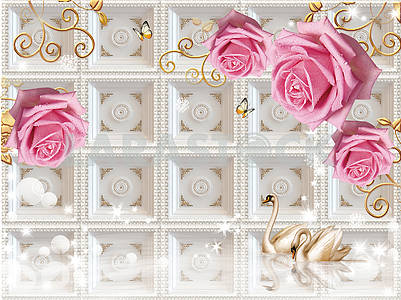 3d illustration, white background, embossed tile, large buds of pink roses with water drops on ornamental golden branches, two swans in the water