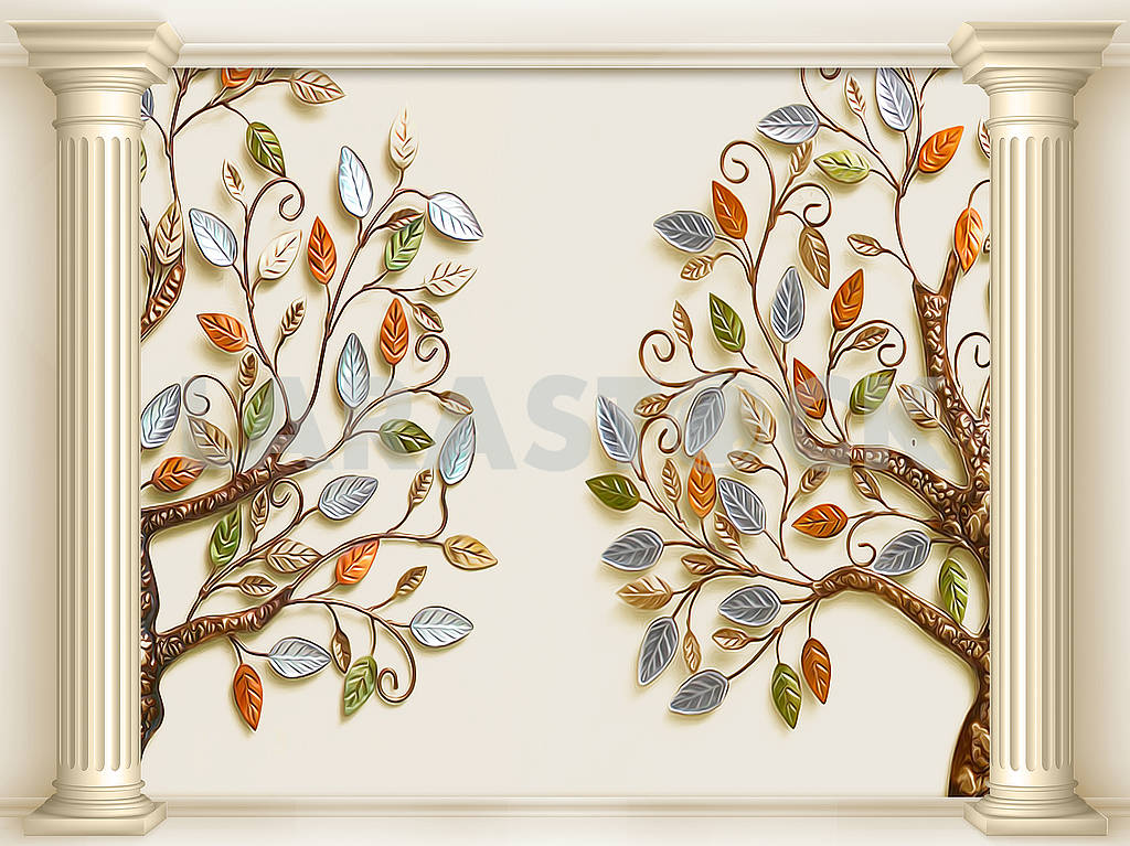3d illustration, beige background, two columns, two fabulous trees with colorful leaves — Image 82352