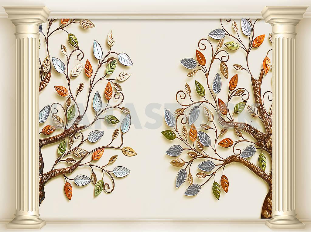 3д иллюстрация, бежевый фон, две колонны, два сказочных дерева с разноцветными листьями — Изображение 82352