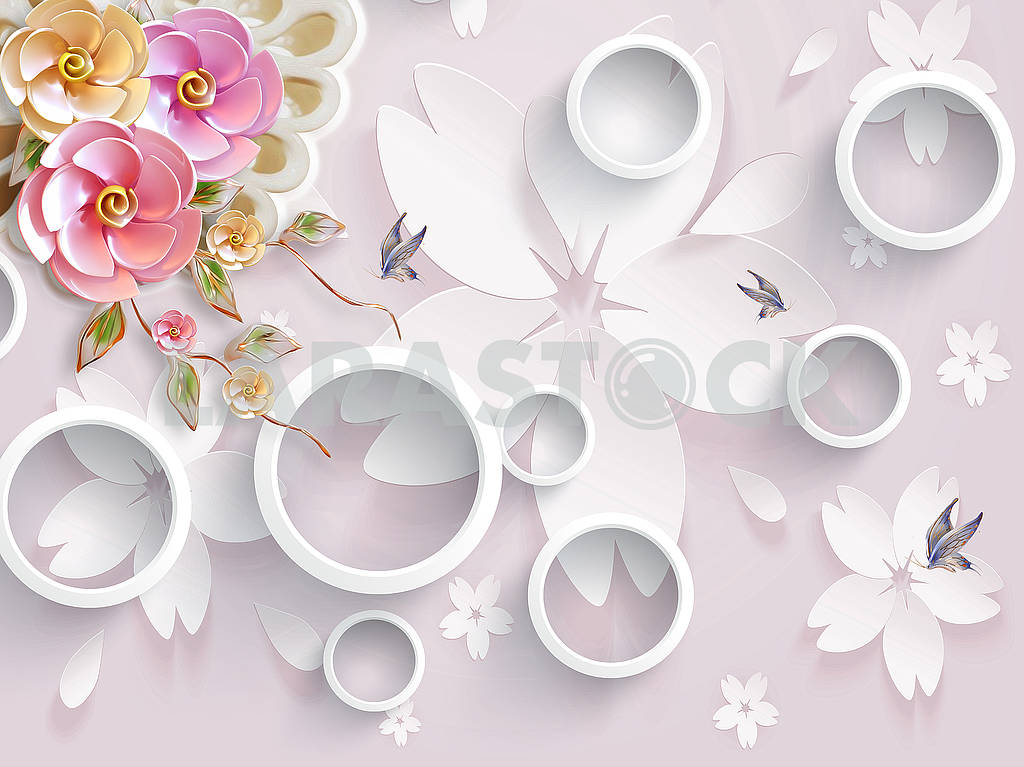 3d illustration, light pink background with large white paper flowers, white rings, pink and white pearl flowers, blue butterflies — Image 82354
