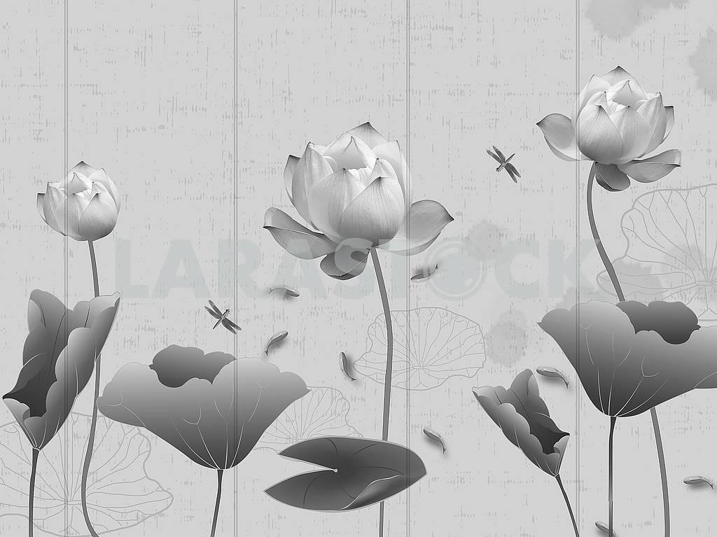 Монохромная иллюстрация, вертикальные линии, водяные лилии с листьями, стрекозы, рыба в воде — Изображение 82356