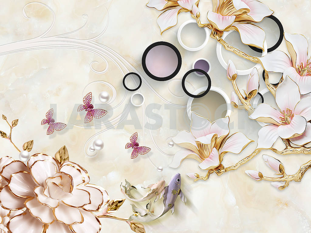 3d illustration, beige marble background, white and black rings, pink gold plated flowers on golden branches, pearls, pink butterflies — Image 82357