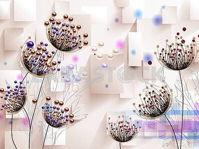 3d illustration, beige background, rectangles, colored spots, large fabulous flowers with purple and gold beads on thin stems