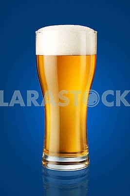 glass of beer isolated on blue background, retouched to perfecti