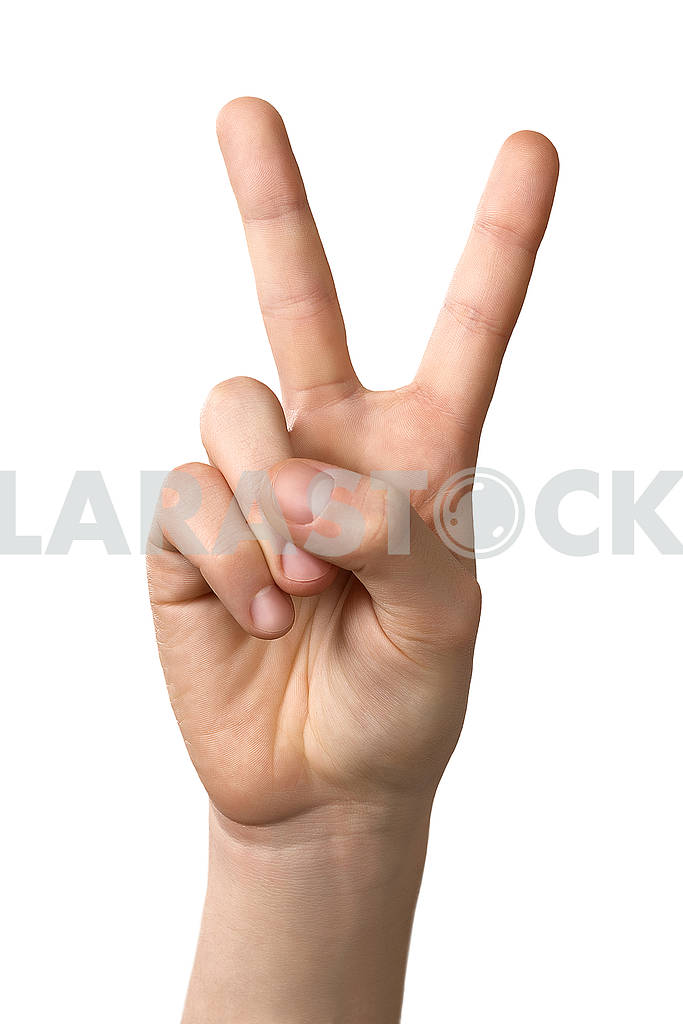 Man hand showing victory sign gesture, isolated on white backgro — Image 82426