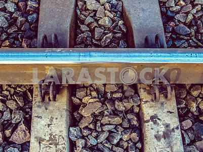 Railway rail close up
