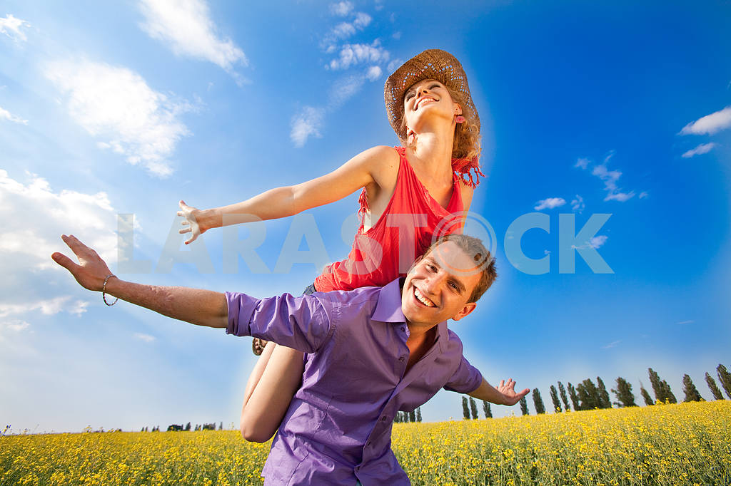 Happy people are jumping, having fun on the river bank. The refl — Image 8312