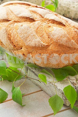 Fresh and delicious bread on wooden shabby cutting board and birch branch for healthy diet background